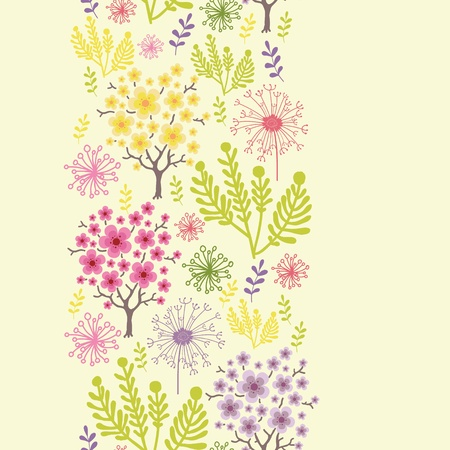 Blossoming trees vertical seamless pattern background border Stock Vector - 16602310