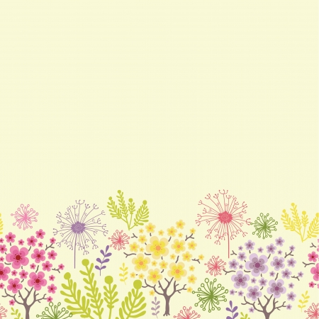Blossoming trees horizontal seamless pattern background border Çizim