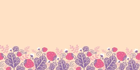 Strawberries horizontal seamless pattern background border Vector