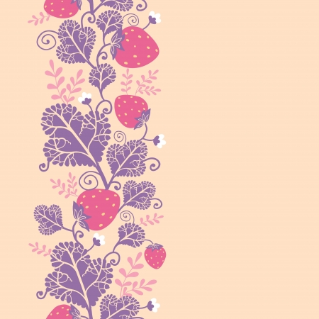Strawberries vertical seamless pattern background border Vector