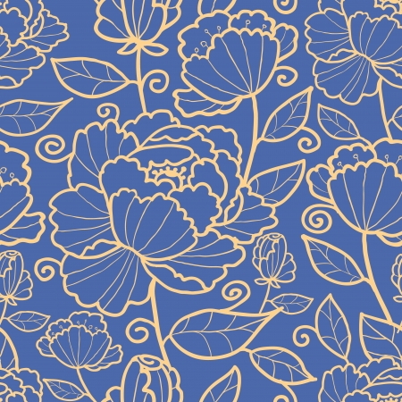 Royal flowers and leaves seamless pattern background