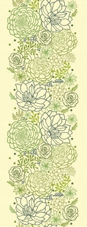 succulent: Green succulent plants vertical seamless pattern border
