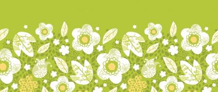 horizontal: Green kimono florals horizontal seamless pattern border Illustration