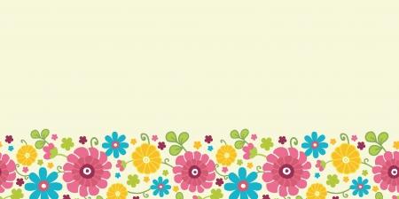 horizontal: Colorful kimono flowers horizontal seamless pattern border