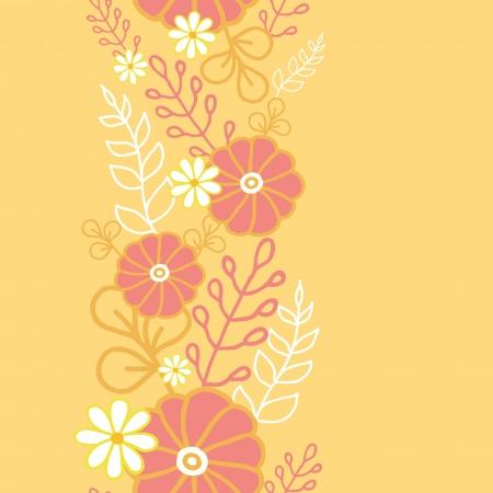 Hot flowers vertical seamless pattern background border Vector