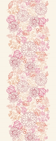 Flowers and berries vertical seamless pattern border Vector