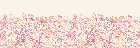 Flowers and berries horizontal seamless pattern border Stock Vector - 16627523