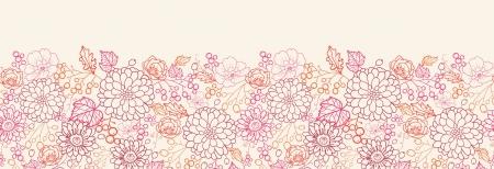 horizontal: Flowers and berries horizontal seamless pattern border