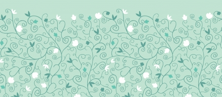 Blossoming  Branches Horizontal Seamless Pattern Border Vector