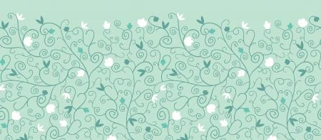 horizontal: Blossoming  Branches Horizontal Seamless Pattern Border