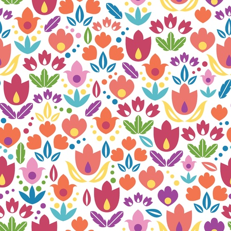 Abstract tulips seamless pattern background