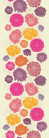 Colorful abstract flowers vertical seamless pattern border Illustration