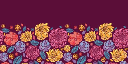 Summer flowers horizontal seamless pattern background border