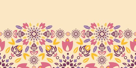 Ornamental colorful tulips horizontal seamless pattern border Vector