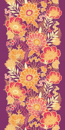 Fall flowers and leaves vertical seamless pattern border