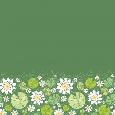 Water Lillies horizontal frontera de fondo sin fisuras patrón Foto de archivo - 16675683