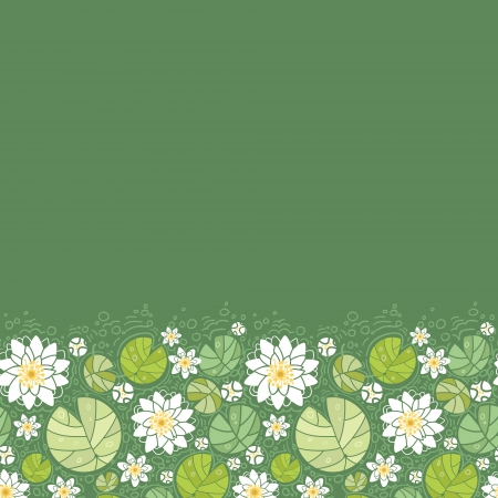 Water lillies horizontal seamless pattern background border