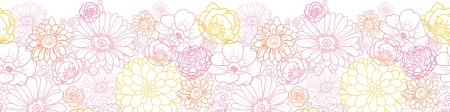 Wedding bouquet flowers horizontal seamless pattern border Vector