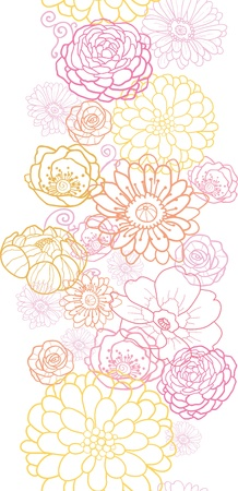 Wedding bouquet flowers vertical seamless pattern border Vector