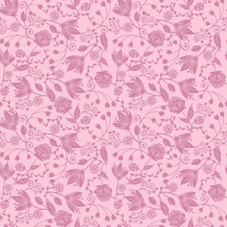 Purple silhouettes flowers seamless pattern background Vector