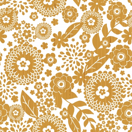 Textured wooden flowers seamless pattern background border Stock Vector - 16675695