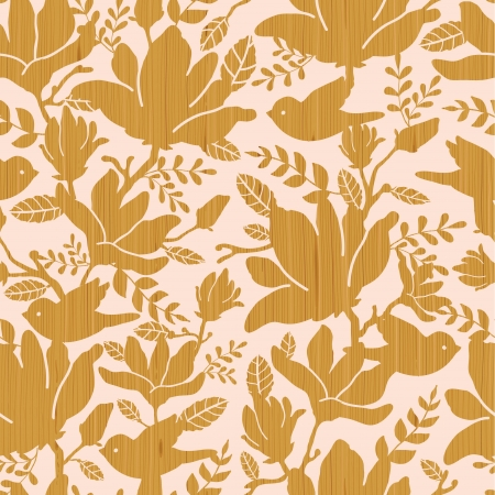 Textured wooden magnolia flowers seamless pattern background Vector