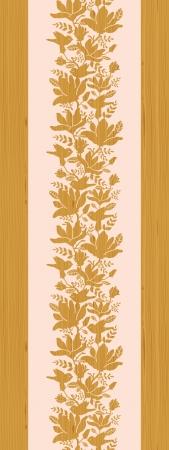 Textured wooden magnolia flowers vertical seamless pattern