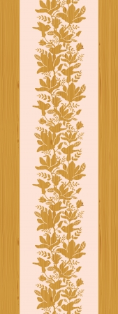 Textured wooden magnolia flowers vertical seamless pattern  Vector