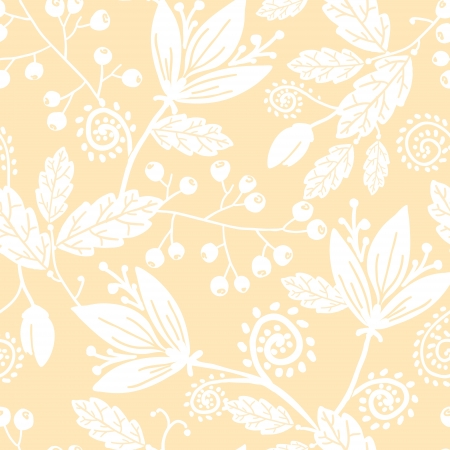 Yellow and white silhouettes flowers seamless pattern background Vector