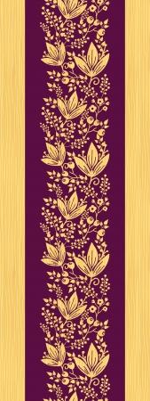 Paars houten bloemen verticale naadloze patroon grens
