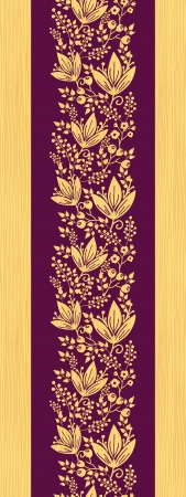 Purple wooden flowers vertical seamless pattern border Vector