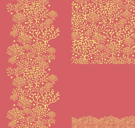 Set of golden plants seamless pattern and borders backgrounds Stock Vector - 16675710