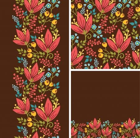 herbstblumen: Set Herbstblumen nahtlose Muster und Grenzen Hintergr�nden