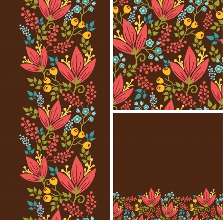 autumn flowers: Set of autumn flowers seamless pattern and borders backgrounds