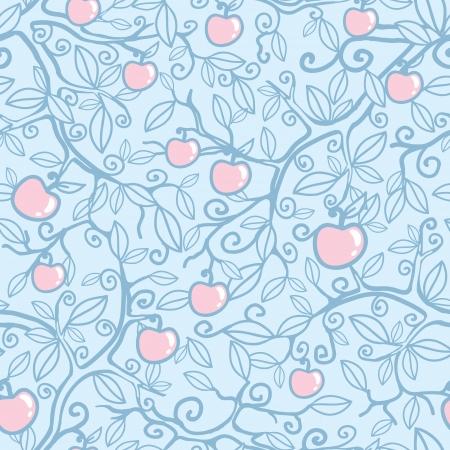 creative: Apple tree seamless pattern background