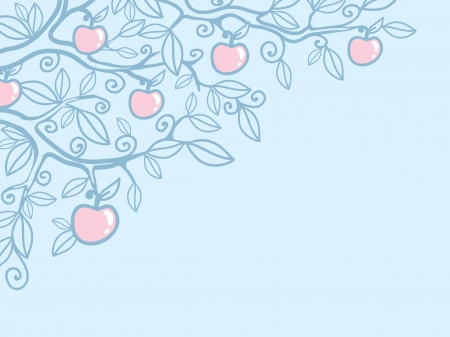 Apple tree corner background Vector