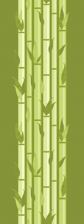 Bamboo stems and leaves vertical seamless pattern border Vector