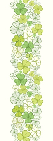 Clover line art vertical seamless pattern background border