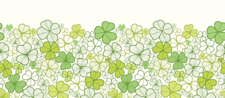 Clover line art horizontal seamless pattern background border Vector