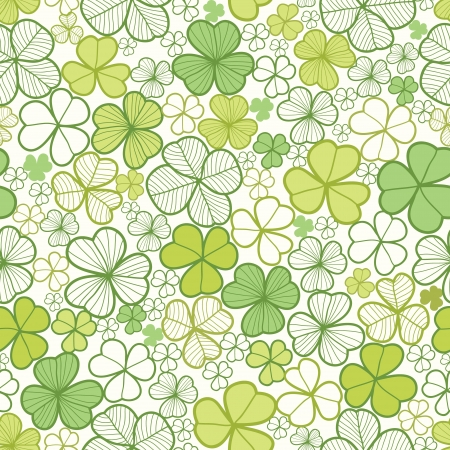 irland�s: Clover line art background seamless pattern Vectores