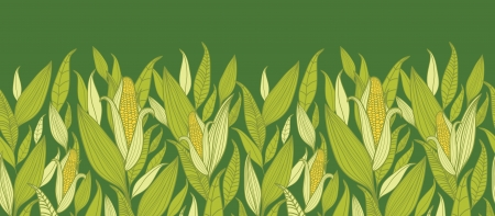Corn plants horizontal seamless pattern background border Vector