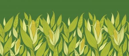 planta de maiz: Las plantas de maíz horizontal fronterizos de fondo sin fisuras patrón Vectores