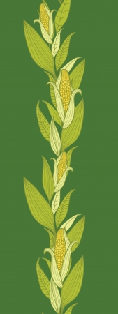 corncob: Corn plants vertical seamless pattern background border Illustration