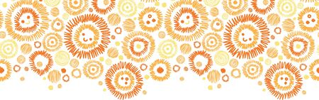 horizontal: Sunny faces horizontal seamless pattern background border Illustration