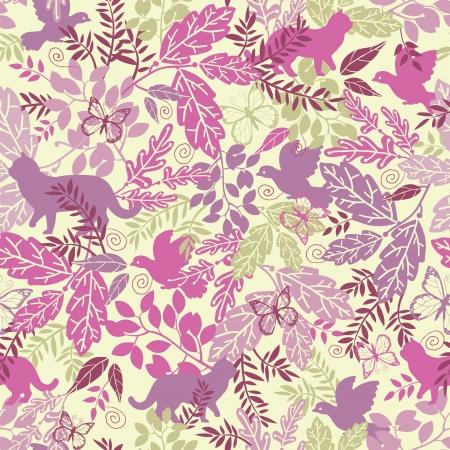 wildlife: Wildlife seamless pattern background Illustration