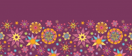 Colorful stars horizontal seamless pattern background border Vector
