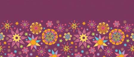 horizontal: Colorful stars horizontal seamless pattern background border