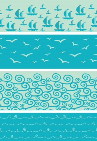 Set of four sea horizontal seamless borders backgrounds Vector