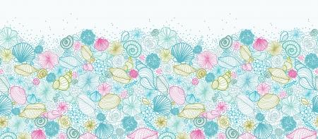 cephalopod: Seashells line art horizontal seamless pattern background border