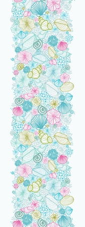 Seashells line art vertical seamless pattern background border Vector